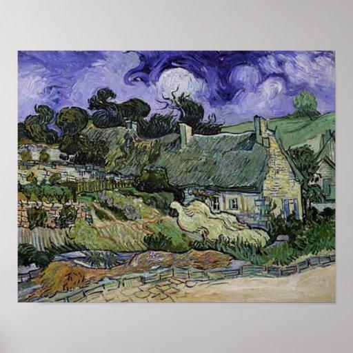 Vincent Van Gogh - Thatched Cottages at Cordeville Poster