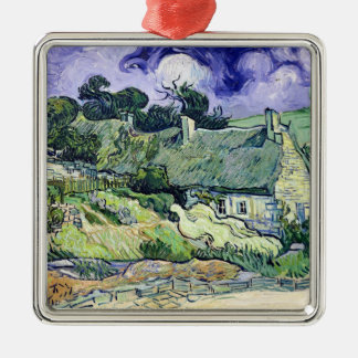 Vincent van Gogh | Thatched cottages at Cordeville Silver-Colored Square Decoration