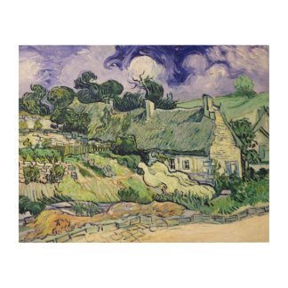 Vincent van Gogh | Thatched cottages at Cordeville Wood Print