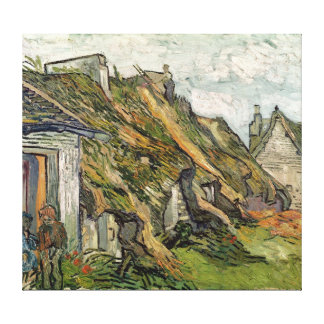 Vincent van Gogh | Thatched Cottages in Chaponval Canvas Print