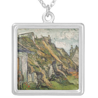Vincent van Gogh   Thatched Cottages in Chaponval Silver Plated Necklace