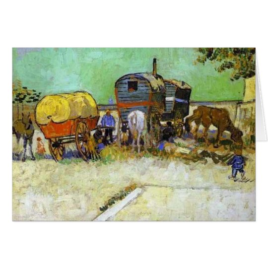 vincent van gogh- the caravans - gypsy camp near a card