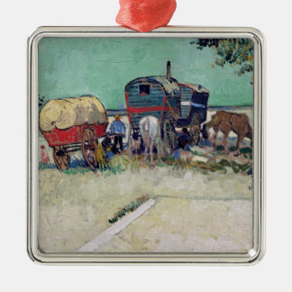 Vincent van Gogh | The Caravans, Gypsy Encampment Silver-Colored Square Decoration