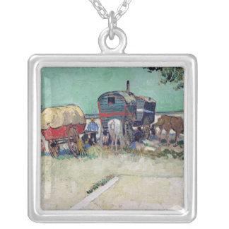 Vincent van Gogh   The Caravans, Gypsy Encampment Silver Plated Necklace