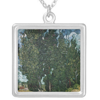 Vincent van Gogh | The cypresses, c.1889-90 Silver Plated Necklace