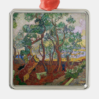 Vincent van Gogh | The Garden of St. Paul Hospital Silver-Colored Square Decoration