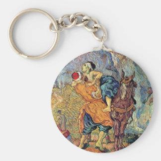 Vincent Van Gogh - The Good Samaritan - Fine Art Basic Round Button Key Ring