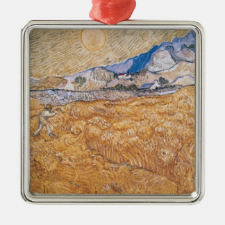 Vincent van Gogh | The Harvester Silver-Colored Square Decoration