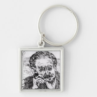 Vincent van Gogh | The Man with the Pipe Silver-Colored Square Key Ring