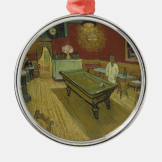 Vincent Van Gogh The Night Cafe Painting Art Work Silver-Colored Round Decoration