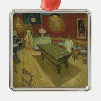 Vincent Van Gogh The Night Cafe Painting Art Work Silver-Colored Square Decoration