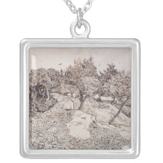 Vincent van Gogh   The Olive Trees Silver Plated Necklace