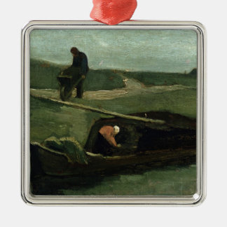 Vincent van Gogh | The Peat Boat, 1883 Silver-Colored Square Decoration