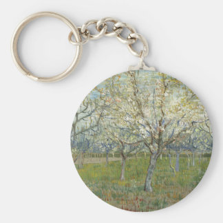 Vincent Van Gogh The Pink Orchard -Floral Painting Key Ring