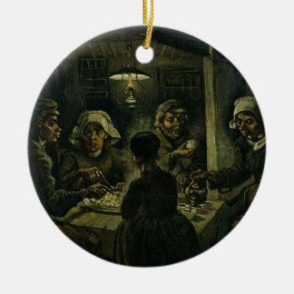 Vincent Van Gogh The Potato Eaters Painting. Art Round Ceramic Decoration