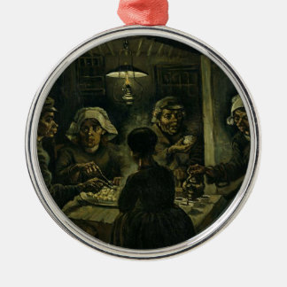 Vincent Van Gogh The Potato Eaters Painting. Art Silver-Colored Round Decoration
