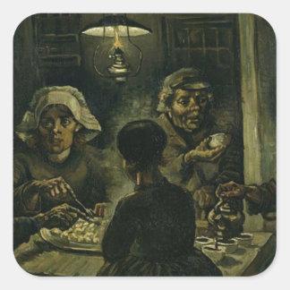 Vincent Van Gogh The Potato Eaters Painting. Art Square Sticker
