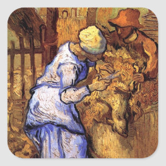 Vincent Van Gogh - The Sheep Shearers - Fine Art Square Sticker