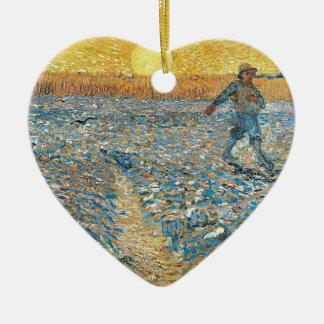 Vincent Van Gogh The Sower Painting Art Ceramic Heart Decoration