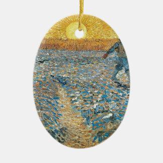 Vincent Van Gogh The Sower Painting Art Christmas Ornament