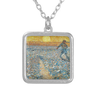 Vincent Van Gogh The Sower Painting Art Silver Plated Necklace