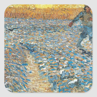 Vincent Van Gogh The Sower Painting Art Square Sticker