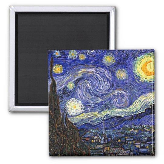 Vincent Van Gogh - The Starry Night Fine Art Square Magnet