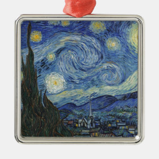 Vincent van Gogh | The Starry Night, June 1889 Silver-Colored Square Decoration