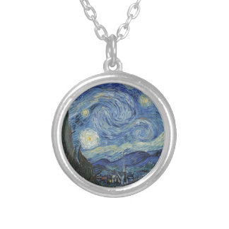 Vincent van Gogh   The Starry Night, June 1889 Silver Plated Necklace