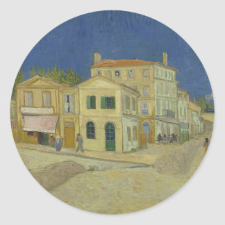 Vincent Van Gogh The Yellow House Painting Classic Round Sticker