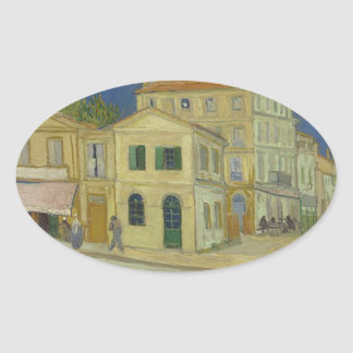 Vincent Van Gogh The Yellow House Painting Oval Sticker