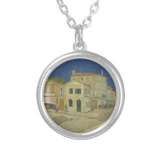 Vincent Van Gogh The Yellow House Painting Silver Plated Necklace