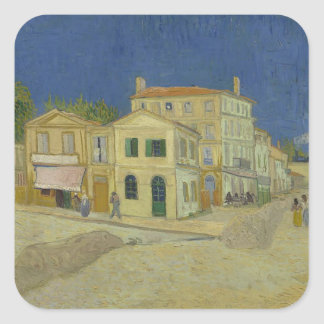 Vincent Van Gogh The Yellow House Painting Square Sticker