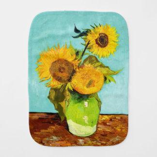 Vincent Van Gogh Three Sunflowers In A Vase Baby Burp Cloths