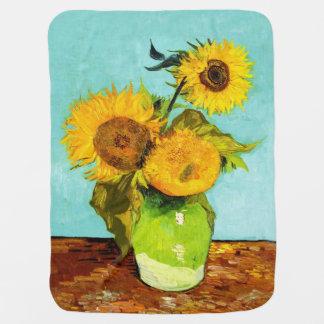 Vincent Van Gogh Three Sunflowers In A Vase Receiving Blanket