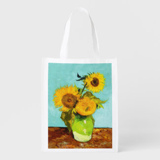 Vincent Van Gogh Three Sunflowers In A Vase Reusable Grocery Bag