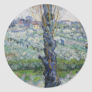 Vincent Van Gogh - Trees Painting Artwork Classic Round Sticker