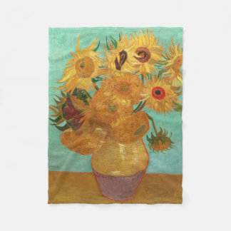 Vincent Van Gogh Twelve Sunflowers In A Vase Fleece Blanket