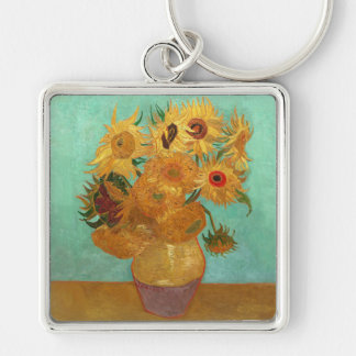 Vincent Van Gogh Twelve Sunflowers In A Vase Silver-Colored Square Keychain