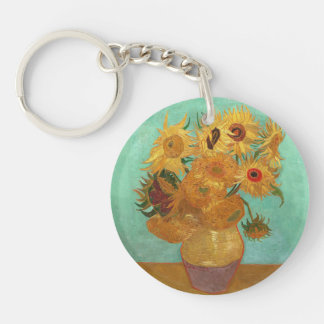 Vincent Van Gogh Twelve Sunflowers In A Vase Single-Sided Round Acrylic Keychain