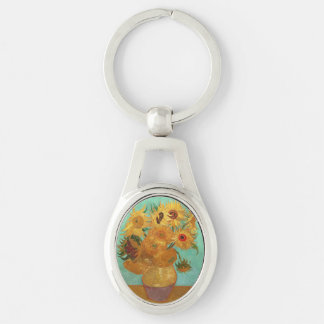 Vincent Van Gogh Twelve Sunflowers In A Vase Silver-Colored Oval Keychain