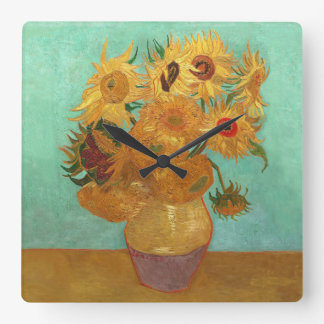 Vincent Van Gogh Twelve Sunflowers In A Vase Square Wall Clock
