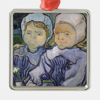 Vincent van Gogh | Two Little Girls, 1890 Silver-Colored Square Decoration