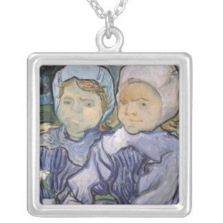 Vincent van Gogh   Two Little Girls, 1890 Silver Plated Necklace