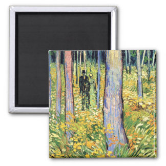 Vincent Van Gogh - Undergrowth With Two Figures Square Magnet