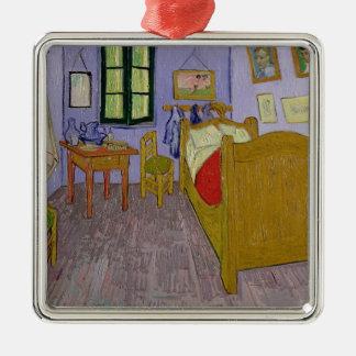 Vincent van Gogh | Van Gogh's Bedroom at Arles Silver-Colored Square Decoration
