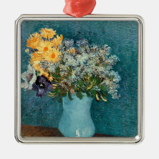Vincent van Gogh | Vase of Flowers, 1887 Silver-Colored Square Decoration
