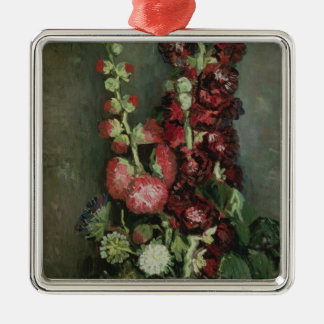 Vincent van Gogh | Vase of Hollyhocks, 1886 Silver-Colored Square Decoration