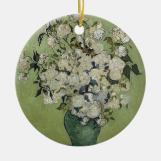 Vincent Van Gogh Vase of Roses Painting Floral Art Round Ceramic Decoration