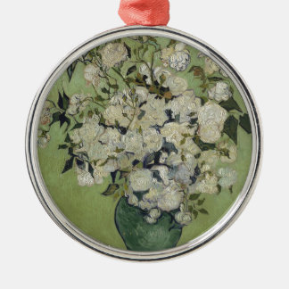 Vincent Van Gogh Vase of Roses Painting Floral Art Silver-Colored Round Decoration